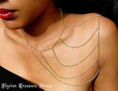 Body Chain Body Jewelry Boho Style Bohemian Jewlery Moon Spell Gold Shoulder Chain Body Chain by IllyrianTreasure, $15.00