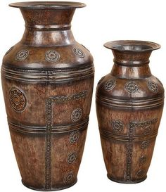 Benzara 75714 Metal Vase Set Of 2 Beautifully Carved