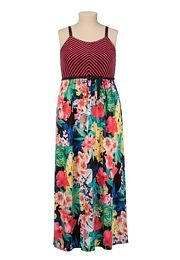 Belted Stripe and Tropical Floral Print Maxi Dress - maurices.com