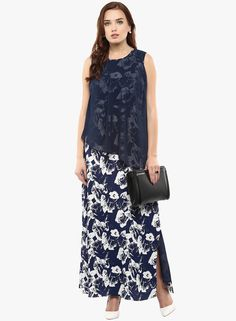 18cd8b497be Buy Athena Blue Coloured Printed Maxi Dress for Women Online India