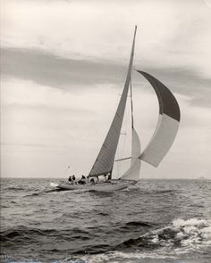 Sparkman & Stephens: Design 1343 - 12-Meter Columbia. Among S&S 12-meters, it could be argued that Columbia is the prettiest. She was the 1958 America's Cup winner. Built of wood by Henry Nevins of City Island, New York she was the first post-war 12-meter designed by the firm. She is also the 1st America's Cup 12-meter winner.  The crew consisted of Rod Stephens as bowman, Cornelius Shields as skipper, Briggs Cunningham as helmsman, Henry Sears as navigator and Olin Stephens in the…