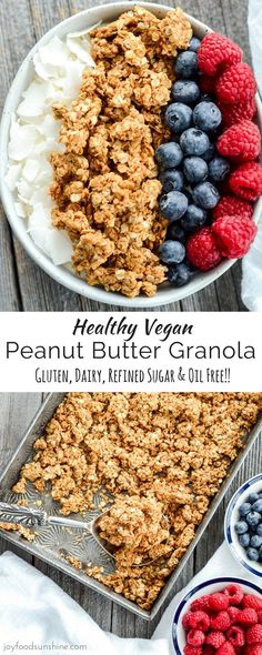 Swap honey with maple syrup. This Healthy Peanut Butter Granola is the perfect make-ahead breakfast recipe! With only 6 ingredients it's so easy to make! Gluten-free, dairy-free, refined sugar free, oil free and vegan!