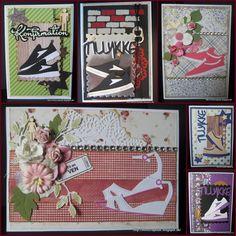 Jeg har lige fået et sæt nye dies med div. sko ( - og lidt flere nye dies, når nu postvæsenet alligevel skulle ulejliges......LOL ), og d... Scrapbook Paper Crafts, Viera, Nye, Sewing Crafts, Stencils, Diy And Crafts, Kawaii, Stamp, Metal