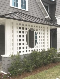 Storybook by the sea and the beautiful talent of White Bungalow Interiors Backyard Privacy, Backyard Patio, Front Yard Landscaping, Porch Trellis, Bungalow Interiors, Exterior Front Doors, Porch Entry, Front Porch, Decks And Porches