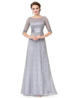 679425c571b6 Lace Mother Dress Light Grey Formal Evening Dress Half Sleeve Illusion  Neckline A Line Floor Length