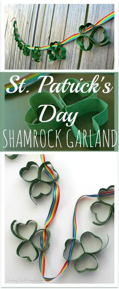Spread a little luck on St. Patrick's Day with this DIY St. Patrick's Day Shamrock Garland! Spread a little luck on St. Patrick's Day with this DIY St. St Patricks Day Crafts For Kids, Easy Crafts For Kids, Toddler Crafts, Toilet Paper Roll Crafts, Paper Crafts, Holiday Crafts, Holiday Fun, Festive, Holiday Ideas