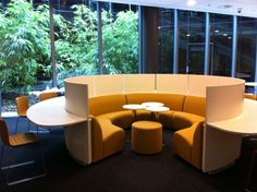 you will see various versions of this seating layout a lot - these posh ones are in the extraordinary new library in Macquarie University in NSW. In the centre - collaboration, round the outside, more private and personal space.