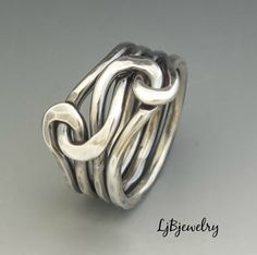Silver Knot Ring, Love Knot Ring , Infinity Ring, Eternity Ring, Silver Ring, Unisex Ring, Sterling Silver 12 gauge wire Forged by LjBjewelry on Etsy https://www.etsy.com/listing/91655998/silver-knot-ring-love-knot-ring-infinity