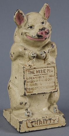 """""""Wise Pig"""" Cast Iron Bank."""