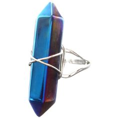 Blue Titanium Quartz Crystal Point Ring -Healing Stone -Vintage Silver... ($19) ❤ liked on Polyvore featuring jewelry, rings, quartz crystal ring, crystal rings, boho rings, blue quartz ring and silver rings