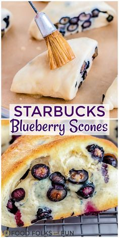This is the best recipe for Starbucks Blueberry Scones. They're completely made from scratch and perfectly studded with fresh or frozen blueberries. Follow Food Folks and Fun for more Copycat Recipes!