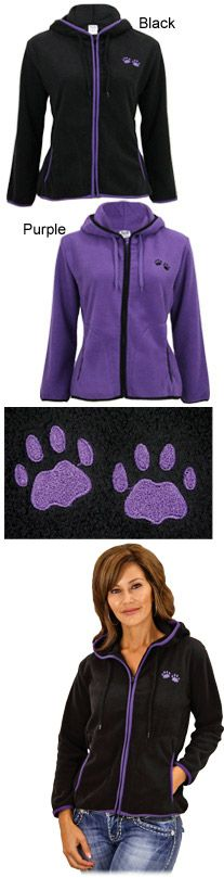 Purple Paw Trimmed Polar Fleece Jacket at The Animal Rescue Site-$20, purchase funds 28 bowls of food for shelter animals, and enter FBPURPLE to receive a free hat! https://theanimalrescuesite.greatergood.com/store/ars/item/45117/?origin=ARS_FACE_DOGS_ADGROUP_2_TrimmedFleece_10/13