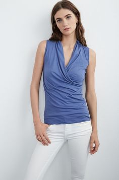 VELVET By Graham & Spencer Adelise Gauzy Whisper Wrap Front Tank Top Blue S $88 #VelvetbyGrahamSpencer #Blouse #Casual