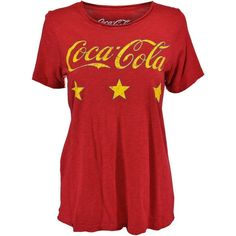 Chaser Brand Coca-Cola Crew Neck Tee ($66) ❤ liked on Polyvore featuring tops, t-shirts, crew neck t shirt, crewneck tee, gauze tops, crewneck t shirt and red crew neck t shirt