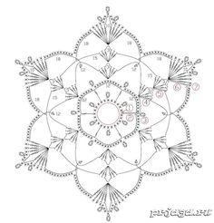 Crochet Snowflake Pattern, Crochet Stars, Christmas Crochet Patterns, Crochet Snowflakes, Thread Crochet, Crochet Stitches, Crochet Diagram, Filet Crochet, Crochet Motif