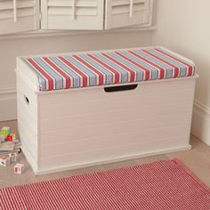 Toybox Seat (Deckchair Blue Cushion) Cute Storage Boxes, Storage Ideas,  Storage Chest