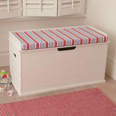 Toybox Seat (Deckchair Blue Cushion) Cute Storage Boxes, Storage Ideas, Storage  Chest