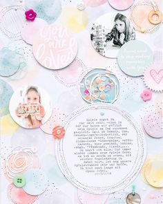 Beautiful layout - - #scrapbooking #scrapbook #scrap #album #minialbum #DIY #crafts #colours #memories #photos #fotografie #circles #layout #scrapbookinglayout #ideas #pastel