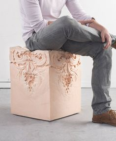 etween design and architecture, Dutch artist Nynke Koster imagined a collection of stools with pastel colors titled Elements of Time, through she got inspired by baroque and classical architectural molding ornaments for each piece. Quite unexpectedly, these stools are actually made of foam, although they look solid, like stone.