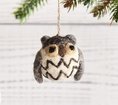 Mini Felt Owl Ornament, Gray. Too cute to not have it