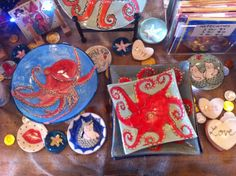 Some of my ceramics. www.pufferfishpress.com