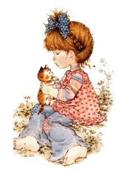 Sarah Kay - Patchwork Bell Bottoms with Kitty on Lap Sarah Key, Holly Hobbie, Sarah Kay Imagenes, Illustrations, Illustration Art, Australian Artists, Digi Stamps, Sweet Memories, Precious Moments