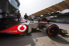 Jenson Button leaving the pit box