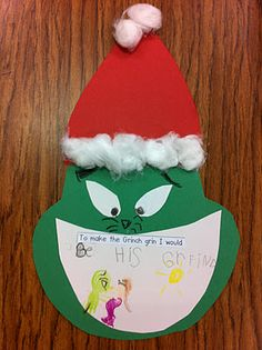 "Grinch Writing Activity: ""To make the Grinch grin I would . . . "" GR blend activity"