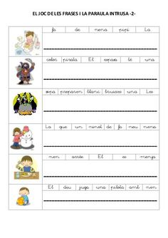 El joc de les frases i la paraula intrusa Catalan Language, Visual Learning, Valencia, Teaching, Activities, Writing, Education, Frases, Preschool