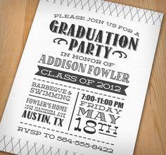 LETTERPRESS Graduation Party Printable Invitation $20.00