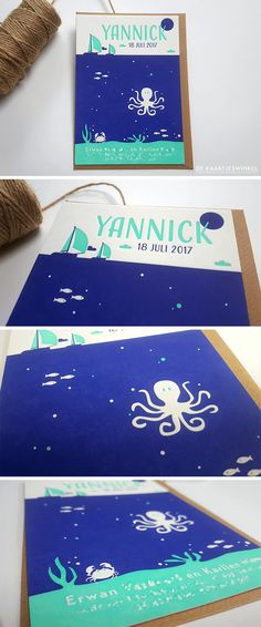 Letterpress geboortekaartje – Yannick © dekaartjeswinkel.nl  #geboortekaartje #oceaan #ocean #sea #sealife #octopus #vissen #fish #donkerblauw #turquoise #boat #sailing #letterpress