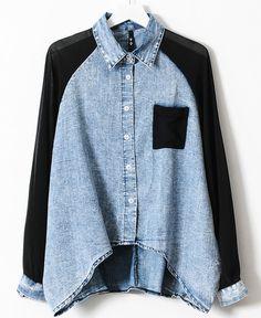 Blue Contrast Black Chiffon Batwing Sleeve Denim Blouse - a Blue Denim Shirt, Denim Blouse, Denim Top, Shirt Blouses, Blue Blouse, Denim Shirts, Floral Blouse, Black Denim, Chiffon Shirt