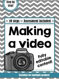 Create a video project in 10 steps. File types: PDF and docx. A complete lesson plan with teacher's guide and worksheets for each step. Fully editable resources!  Includes rubric and peer feedback form. There are ready-made steps & worksheets for videos such as: information videos, music videos, acting videos, dancing videos, combinations of these and more.  30 pgs, all grades. $