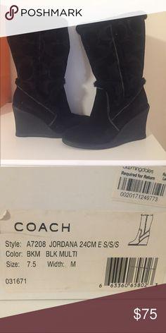 Coach size 7.5 wedge boots Coach 7.5 black wedge boots Coach Shoes Winter & Rain Boots