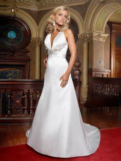 A-line Halter Satin Court Train Appliques Wedding Dresses Shop uk
