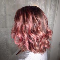 Peach Hair with Pink Highlights