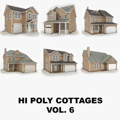 hi poly cottages vol 6 x House 3d Model, Cottages, Mansions, House Styles, Home Decor, Cabins, Decoration Home, French Country Cottage, Room Decor