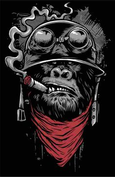 Ape of Duty - Gorilla Warfare Shirt. Funny and totally awesome artwork of a gorilla soldier smoking a cigar. Gorilla Tattoo, Graffiti Art, Arte Dope, Dope Art, Comic Kunst, Comic Art, Dope Kunst, Monkey Art, Skull Art