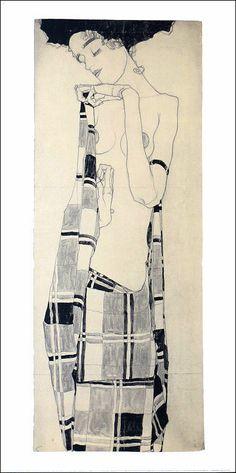 Egon SCHIELE(Austrian) Gerti Schiele In Plaid 1909 Offset Lithograph Art Print