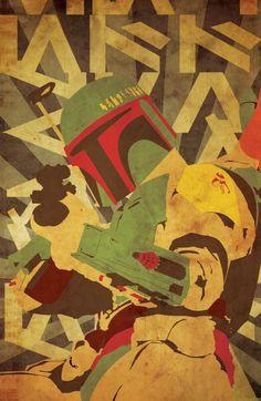 Boba Fett (Star Wars illustrations - propaganda style) | By: Patty McPancakes, via GeekTyrant (#starwars #bobafett) Jango Fett, Star Wars Boba Fett, Batman, Star Trek, Star Wars Art, Wwii, All Star, Kino, Mandalorian