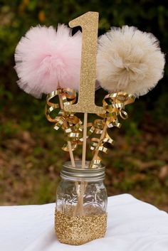 Pink and Gold Party Decorations Centerpiece Birthday Party First Birthday Photo Prop Party Birthday Centerpiece Table Decoration ***Please note that current processing time is up to 2 weeks plus shipp Baby Girl 1st Birthday, First Birthday Photos, First Birthday Parties, Birthday Ideas, Cousin Birthday, Ballerina Birthday, Birthday Diy, Unicorn Birthday, Unicorn Party