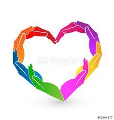 Vector: Hands heart charity logo vector