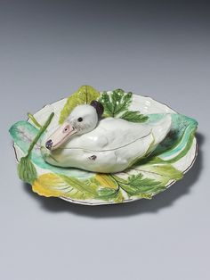 Chelsea Duck Tureen and Cover Chelsea Duck Tureen and Cover, the model taken after George Edwards, Natural History of Uncommon Birds. Circa 1755 Please hover over image to enlarge Go Back