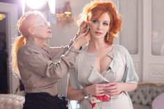 """Vivienne Westwood & Christina Hendricks behind-the-scenes for Vivienne Westwood """"Get A Life"""" Palladium Jewelry Collection by Greg Williams REDHEADS! Christina Hendricks, Christina Aguilera, Cristina Hendrix, Vivienne Westwood Jewellery, Greg Williams, Beautiful Christina, Beautiful People, Beautiful Women, Pose"""