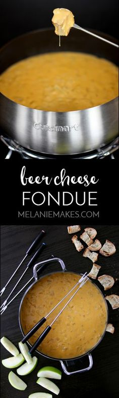 Beer Cheese Fondue - Melanie Makes Your favorite beer, cheese and onions come together in the perfect, melty dipping sauce for just about anything you can dream of. This Beer Cheese Fondue makes for a perfect game day appetizer. Fondue Raclette, Beer Cheese Fondue, Crockpot Fondue, Cheese Sauce, Appetizer Recipes, Snack Recipes, Cooking Recipes, Snacks, Fancy Appetizers