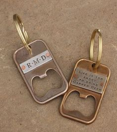 pNeed something for the guy who has everything? Design a Bottle Opener that also serves as a key chain, an ID and also has an inspirational message. There are several different ways to customize the piece. You can add a saying on one side and initials on the other. Or we can add the class year to a plate and then you can put the phrase plate or the intial plate on the other side.