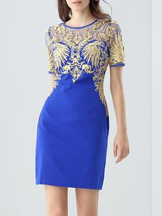 Shop Mini Dresses - Embroidered Elegant Short Sleeve Polyester Mini Dress online. Discover unique designers fashion at StyleWe.com.