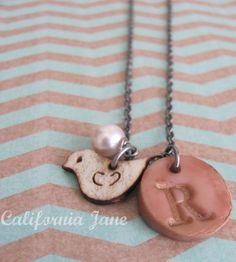 Hand Stamped Initial Pendant with Wooden Bird and Pearl