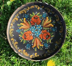Beautiful German Baurnmalarie on a Bass wood Scalloped Tray by Folkartbycathy on Etsy