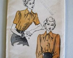 Popular items for 1940s blouse pattern on Etsy